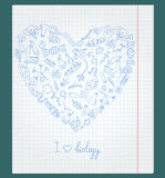 Illustration with notebook paper with icons on the theme of biology are arranged in the shape of a heart. The notebook sheet in a cage with painted icons on the Royalty Free Stock Photography