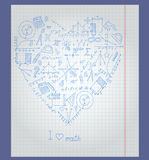 Illustration with notebook paper with icons on the theme of mathematics are arranged in the shape of a heart Stock Photo