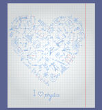 Illustration with notebook paper with icons on the theme of physics arranged in the shape of a heart. The notebook sheet in a cage with painted icons on the Stock Image