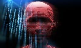 Illustration numérique bleue du pirate informatique 3d de cyber illustration de vecteur