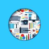 Illustration numérique d'icônes de conception d'art de cercle de vecteur illustration libre de droits