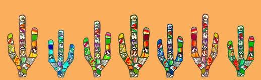 Illustration numérique de cactus abstrait de mosaïque sur le fond orange Photographie stock