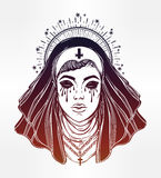 Illustration of a nun with tears in her eyes. Stock Photo