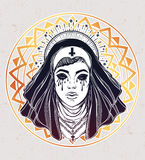 Illustration of a nun with tears in her eyes. Royalty Free Stock Photography