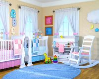 Baby Boy, Girl, Nusrey Room, Babies. Illustration of a nursery room for boy and girl babies. The interior design has blue for boys and pink for girls. Children stock photos