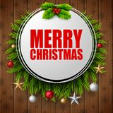 Merry christmas round frame with fir branches on wood board background. Illustration o fMerry christmas round frame with fir branches on wood board background Stock Photos