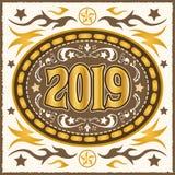 illustration occidentale de vecteur de boucle de ceinture du cowboy 2019 illustration stock
