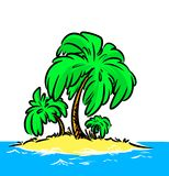 Illustration ocean Island palm Stock Images