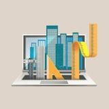 Illustration- och designbegrepp för online-utbildning Arkivfoto