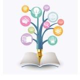 Illustration- och designbegrepp för online-utbildning Arkivbilder