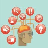 Illustration- och designbegreppssymboler för rengöringsduk och mobilservice och apps Symboler för utbildning, online-utbildning s Arkivfoton