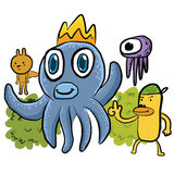 Illustration of  octopus and friend Royalty Free Stock Photo