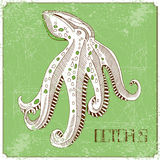 Illustration with octopus Royalty Free Stock Photos