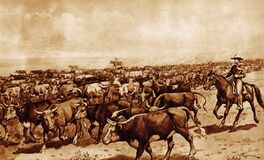 Free Illustration Of A Cattle Drive Royalty Free Stock Images - 185120549