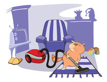 Free Illustration Of A Cute Cat Housecleaning Royalty Free Stock Images - 97851519