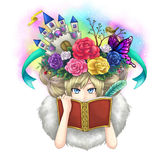 Illustration Of A Girl Writing Fantasy Novel Book While Her Imagination Growing On Her Head Or Maybe She Is A Goddess Writing Her Royalty Free Stock Images