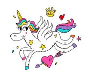 Free Illustration Of A Running Magic Unicorn With Wings. Vector. Cartoon Hero Cute Horse With A Horn. Kawaii Character. Mythical Creatu Royalty Free Stock Photo - 160996115