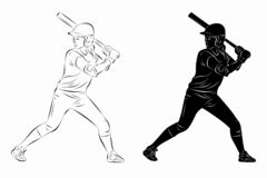 Free Illustration Of A Softball Woman Player, Vector Drawing Royalty Free Stock Photography - 183979877