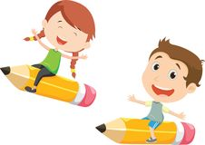 Free Illustration Of Boy And Girl Flying On A Pencil Stock Photography - 123388602