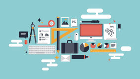 Illustration Of Business Working Elements Royalty Free Stock Images