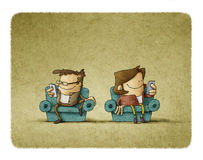 Illustration Of Couple Addicted To Mobil Stock Images