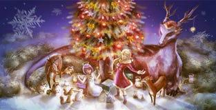 Free Illustration Of Fantasy Cartoon Girl Character Animals Such As Dragon Reindeer Raccoon Squirrel Rabbit Celebrating Stock Photo - 62795300