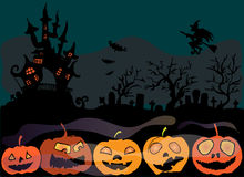 Illustration Of Halloween. The Cemetery Near The Castle. Decorations Of Pumpkins. Happy Holidays. Stock Photography