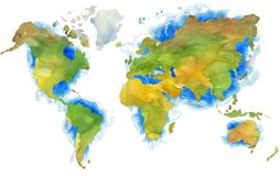 Free Illustration Of Hand Painted Earth Map In Watercolor Style. Stock Photo - 160987320