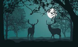 Free Illustration Of Landscape With Forest, Trees And Hills, Under Night Green Sky With Full Moon And Space For Text. Two Deer Standing Stock Photography - 150728162