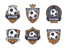 Illustration Of Soccer Logo Set Stock Photography