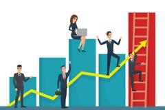 Illustration Of Team Of Businessman On Arrow Graph. Team Leader Royalty Free Stock Photo