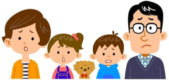 Free Illustration Of Upper Body Of Family Of Four With Troubled Expression Royalty Free Stock Photo - 163603545