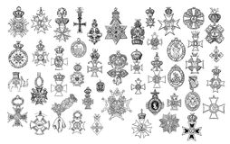 Illustration Of Vintage Crosses And Medals. Stock Photos