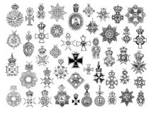 Illustration Of Vintage Crosses And Medals. Stock Photo