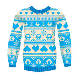 Illustration Of Warm Sweater With Owls And Hearts. Blue Version. Stock Images