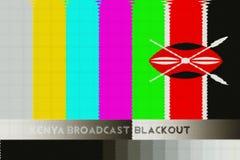 Illustration idea of Kenya Media Broadcast Blackout. Illustration of off air broadcast pattern combined with Kenyan Flag Stock Photography