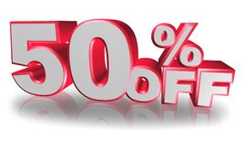 Illustrated 50% off sign. An illustration of a 50% off sign on a white background Royalty Free Stock Photography