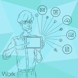 Illustration of an office  employee showing tablet screen for presentation applications. Royalty Free Stock Photos