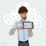 Illustration of an office  employee showing tablet screen for presentation applications. Royalty Free Stock Photo