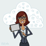 Illustration of an office  employee showing tablet screen for presentation applications. Stock Images