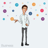 Illustration of an office  employee showing tablet screen for presentation applications. Royalty Free Stock Image