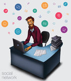 Illustration of an office  employee showing tablet screen for presentation applications. Royalty Free Stock Images