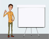Illustration of an office  employee showing tablet screen for presentation applications. Stock Photo