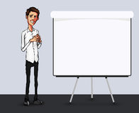 Illustration of an office  employee showing tablet screen for presentation applications. Stock Image