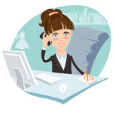 Illustration of Office woman sitting at his working desk with ph Royalty Free Stock Images
