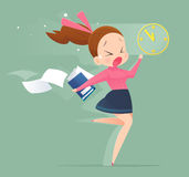 Illustration of an office worker running to meet a deadline Royalty Free Stock Photos