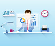 Illustration of office worker using computer royalty free illustration