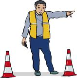 Official directing traffic royalty free stock photo