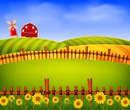 Scenery beautiful farm with red barn and flower. Illustration ofscenery beautiful farm with red barn and flower Royalty Free Stock Photos