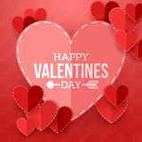 Valentine`s day background with cut paper heart. Illustration ofValentine`s day background with cut paper heart Royalty Free Stock Photo